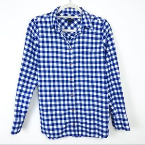 J Crew Womens Boy Fit Blue And White Button Down